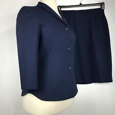 Jones New York Women Suit 2 Pc Skirt Straight Jacket 3/4 Sleeve Blue Sz 12 NEW