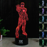 Ironman 3D LED Night Light Touch Table Desk Lamp Brithday Gift 7 Color Change