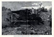 1914 Tschingtau Iltis-Fort wird durch Japaner gestürmt Original-Druck von 1915