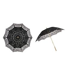 Handmade Cotton Lace Embroidered Parasol Umbrella Wedding Shower Decor Black
