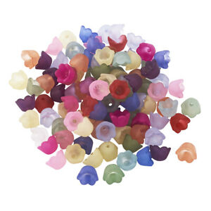 100pcs Random 3D Flower Acrylic Beads Smooth Frosted Loose Bead Caps Matte 10mm