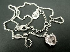 JUICY COUTURE Silver Tone Chain Glass Crown Etched Heart Pendant Necklace #792