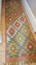Wool Jute Kilim Tribal rug 60x245cm Quality Hand Made runner grey red ochre