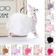AU_ Creative Faux Rabbit Hair Alpaca Pendant Keychain Key Ring Bag Decor Hot