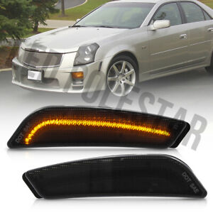 Smoke Lens Amber Led Front Bumper Side Marker Light for 2003-2007 Cadillac CTS