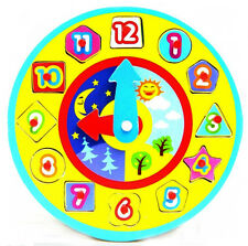 Learn To Tell the Time Wooden Clock Early Years Nursery Infant Toy