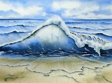 "SHARON HURST ORIGINAL ""Wave II"" Wave Sea Beach Coast WATERCOLOUR PAINTING"