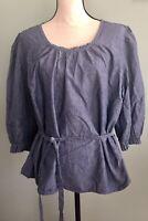 Women's Sz 2X Petite Talbot's 3/4 Sleeve Chambray Blouse Top w/ Tie Peasant
