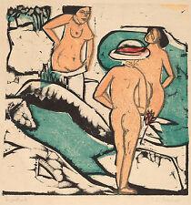 Ernst Kirchner Reproduction: Women Bathing Between White Stones - Fine Art Print