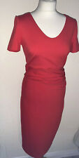 Boden Red Wiggle Pencil Dress Short Sleeved Below Knee Size 10 R