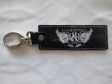 Rock & Republic 2 Black Keyfobs Snap Swivel Hook Key Holder Chain Belt Leather