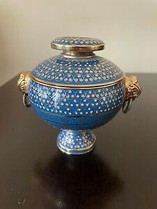 """Small Jar Aqua Blue Textured Gold Geometric Pattern Urn Vase 5"""" Ceramic Pottery"""