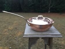 "Williams Sonoma 8.375"" Copper Saucier/Saute Pan Pot W/ Lid Stainless Steel Lined"