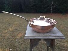 "Williams Sonoma 8.375"" Copper Saucier/Saute Pan Pot W/ Lid Stainless Steel Lined"