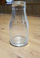 VINTAGE ESMOND DAIRY-SANDUSKY OHIO- ROUND EMBOSSED HALF PINT GLASS MILK BOTTLE
