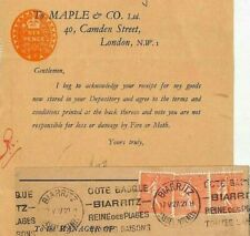 FRANCE Cover GB REVENUES 6d Stamped Paper POSTAL USE Biarritz 1931 Sower LL1