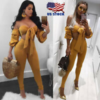 Sexy Women Clubwear Dress Off Shoulder Crop Tops Long Pants Set Bishop Sleeve