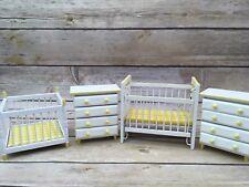 Vintage Dollhouse Nursery Set Yellow White Wood Dresser, Crib , Playpen Lot
