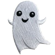 """Ghost Applique Patch - Smiling Ghoul, Halloween Badge 2.75"""" (Iron on)"""
