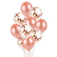10PCS Rose Gold Confetti Foil Latex Balloon Set Helium Wedding Party Birthday