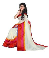 New Women ethnic Tussar Silk Ivory Saree with unstitched blouse piece USA Seller