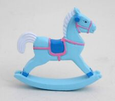 Wood blue rocking horse / Baby shower boy, newborn favor, gift