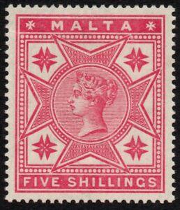 Malta 1886 5s. rose, MH (SG 30)