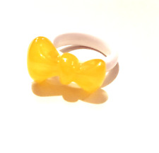 FASHION JEWELRY - AZNAVOUR - Yellow Butterscotch Lucite Bow on White Band Ring 7