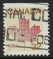 Scott 924bs var: 32c Maple Leaf from 12x12.5 booklet on unlisted HB paper, VF