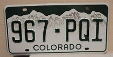 2013 COLORADO LICENSE PLATE 967 PQI ROCKY MOUNTAINS