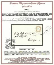 Sardegna 1855 - 10 c. da S. Marcello Pistoiese a Firenze - Certificata - ASI066