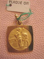 MEDAILLE PLAQUE OR saint christophe VINTAGE 70 NEUF /NEW OLD MEDAL GOLD PLATED
