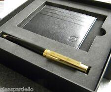 S.T. Dupontdupont fidelio black lacquer gold Pen & WALLET GIFT SET