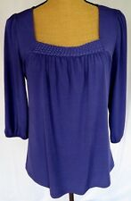 AB Studio Womens Medium Top Purple Stretch Square Neck 3/4 Slv Pullover