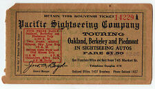 1920s PACIFIC SIGHTSEEING COMPANY Oakland BERKELEY California TRAVEL Ticket AUTO