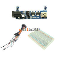 MB102 Power Supply Module 3.3V 5V+Jumper Cable+MB102 Breadboard Board 400 Point