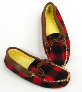 GreatLand Red Buffalo Plaid Suede Moccasin Slippers Mens 7 NEW Fleece Lined