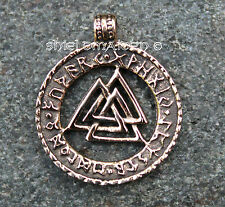 Bronze Rune Ring with Volknut Pendant