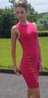 New womans hot pink rayon bandage sexy dress House of CB style size 6 8 10 12