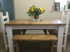 Rustic, Shabby Chic, Dining Table, 2 Chairs And 2 Bench Set