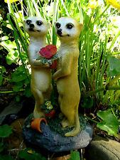 Solarleuchte-Erdmännchen Paar--Liebespaar---26 cm-Deko-Garten-Solarlampe