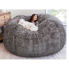 Microsuede 7ft foam giant bean bag memory living room chair lazy sofa cover