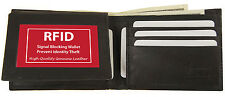 RFID SAFE BLOCKING Black Mens Leather ID Bifold Wallet Flap Top Front Pocket