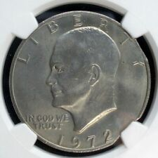 1972 Eisenhower $1 double curved clips NGC MS-65