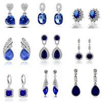 Luxury Vintage Royal Blue Crystal Stud Drop Dangle Evening Party Bridal Earrings