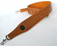 BANJO STRAP TENOR FIVE OR SIX STRING BROWN EMBOSSED LEATHER BY CLEARWATER