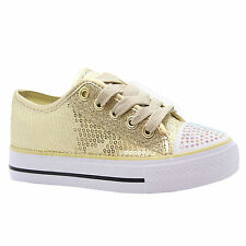GIRLS DIAMANTE CANVAS SHOES CHILDRENS CASUAL PUMPS PLIMSOLLS SNEAKERS TRAINERS
