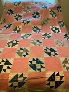 "Antique Quilt Top Indigo Cranberry Buckeye Beauty? 72 x 88"" Scrappy Hand-pieced"
