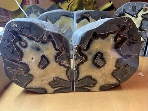 Septarian Polished Pair Of Bookends Nodule Dragon Stone 6.956 Kilos  U.K. Seller