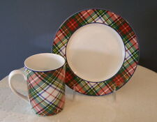 2 Ralph Lauren Tartan Plaid Red Green Christmas Dishes 1 Dessert Plate & 1 Mug